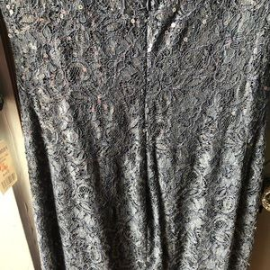 PromGirl Dresses - Grey Sequin Lace Long Sleeve Dress